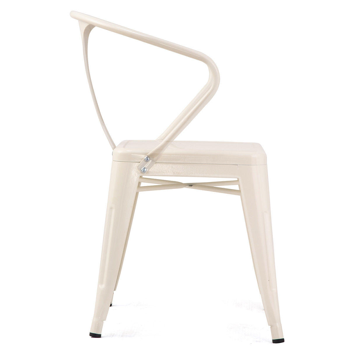 Set of 4 Tolix Style Metal Chairs Arm Chairs-White