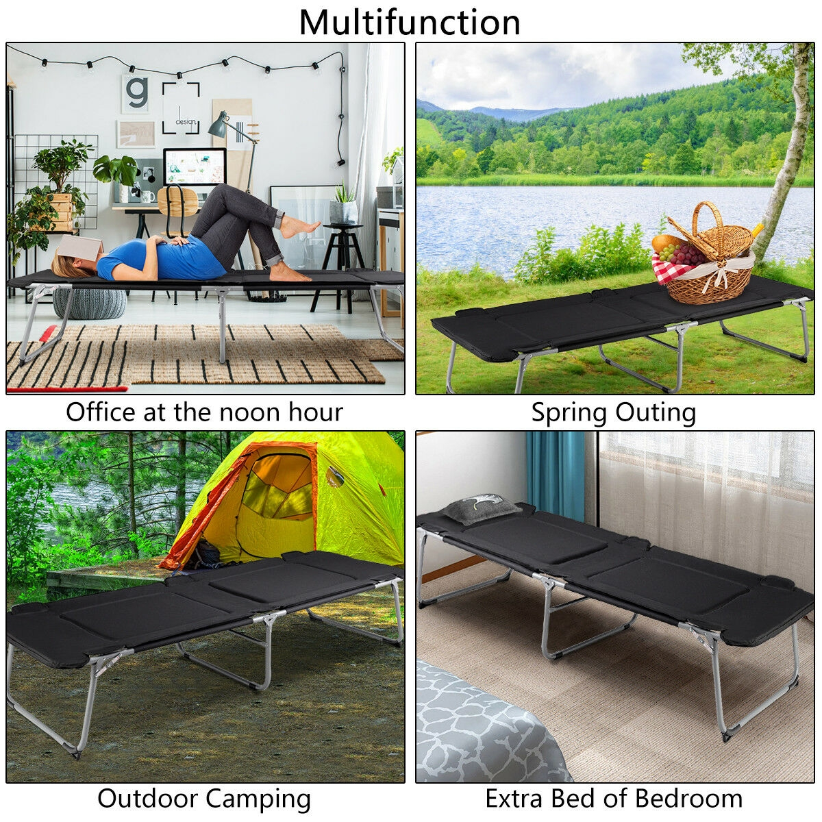 Folding Oversize Adult Portable Camping Bed Cot
