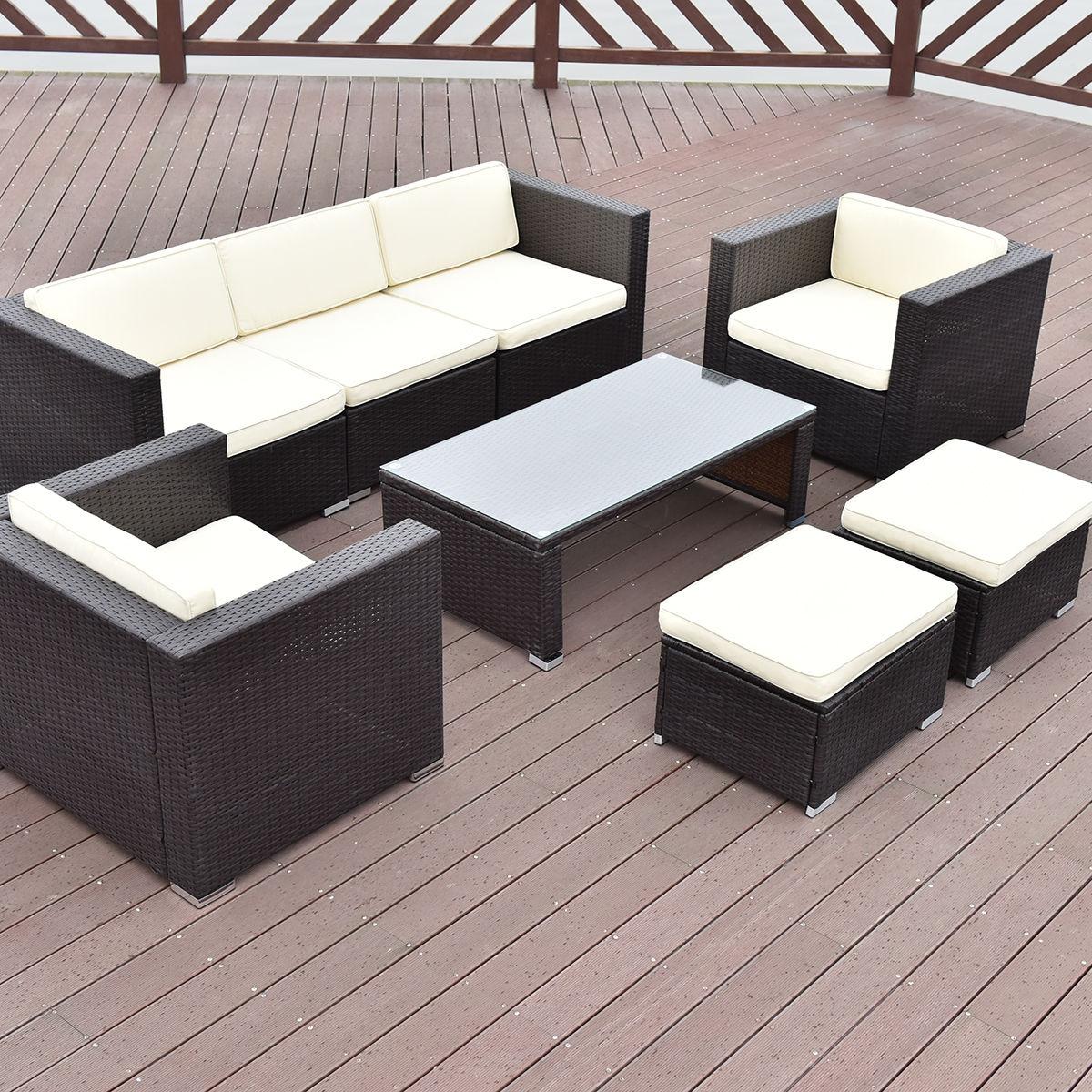 8 pcs Outdoor Patio Rattan Wicker Cushioned Furniture Set