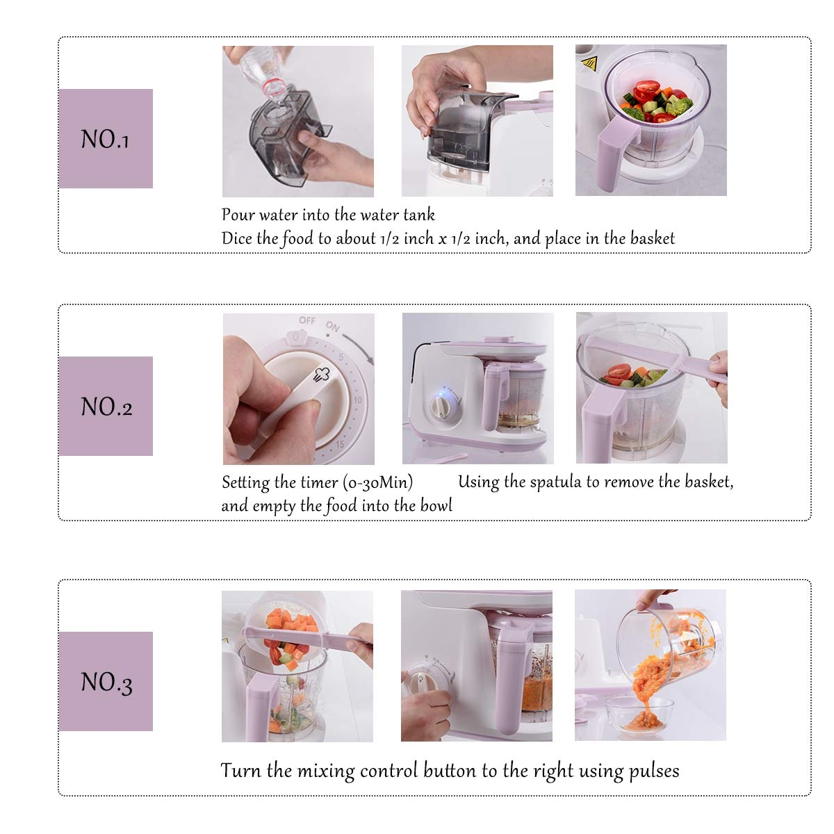 5 In 1 Heating Defrosting Baby Food Maker Infant Feeding Blender