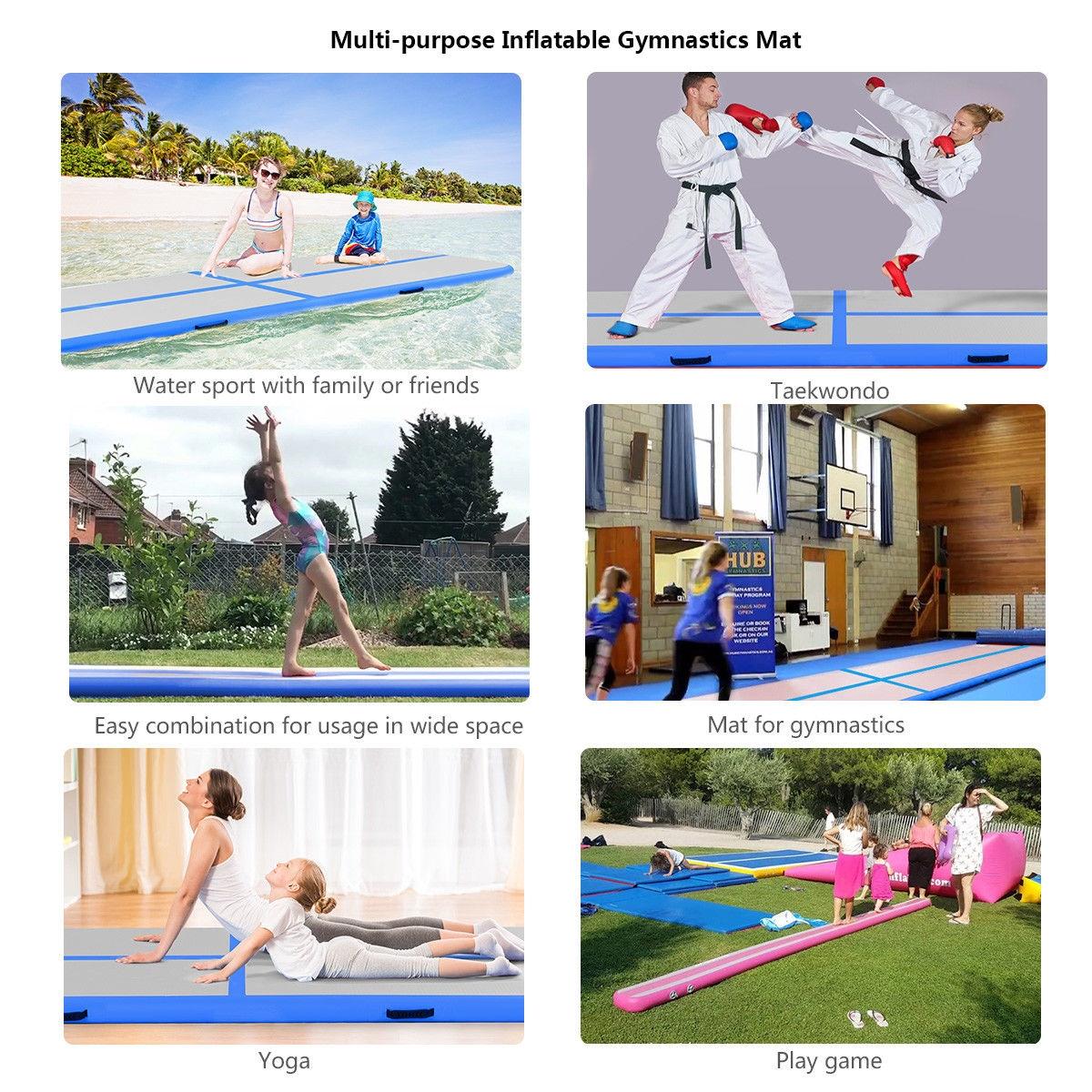 10' Inflatable Gymnastics Mat Air Track Floor Mats w/ Pump