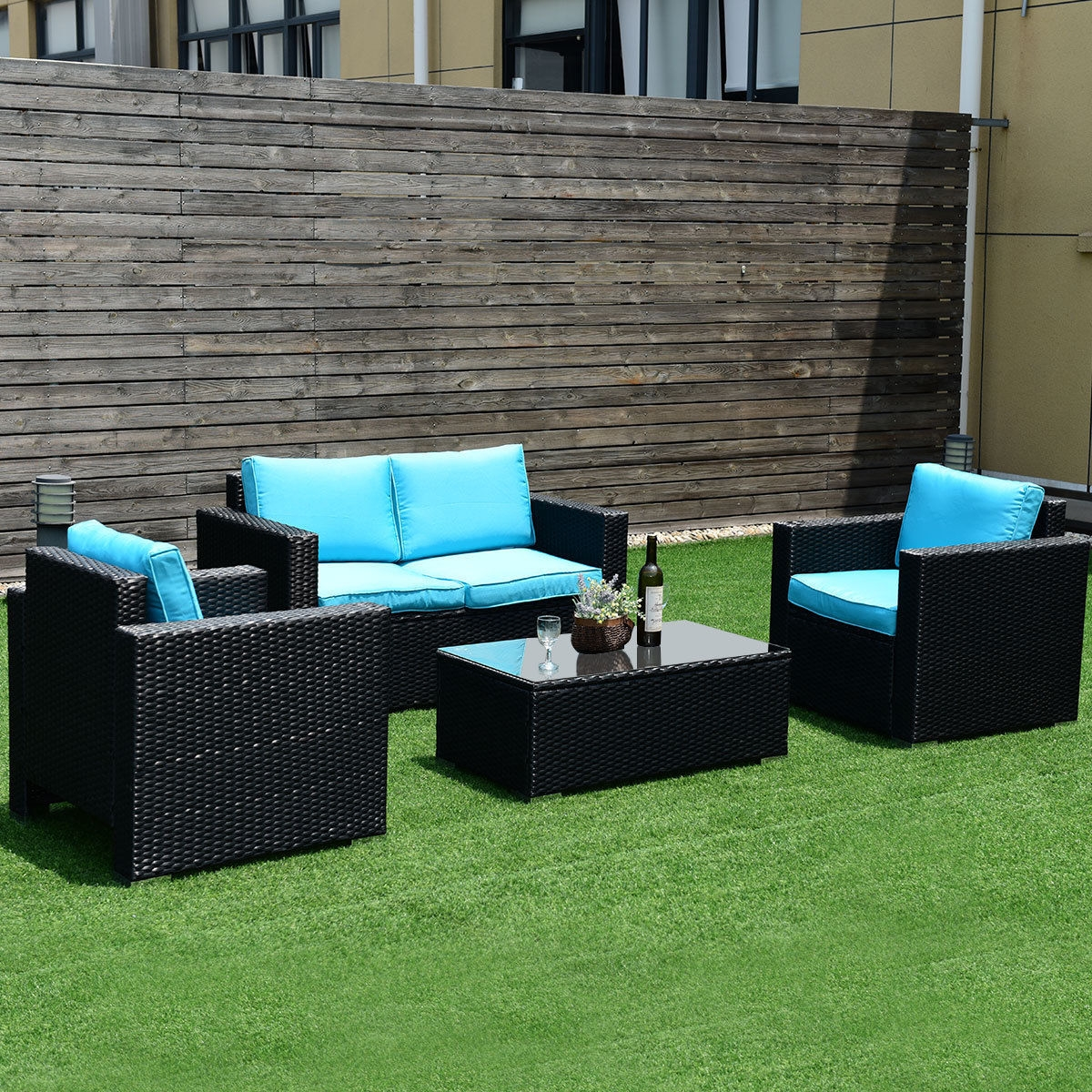 4PC Rattan Patio Furniture Set Outdoor Wicker With Blue Cushion-Blue