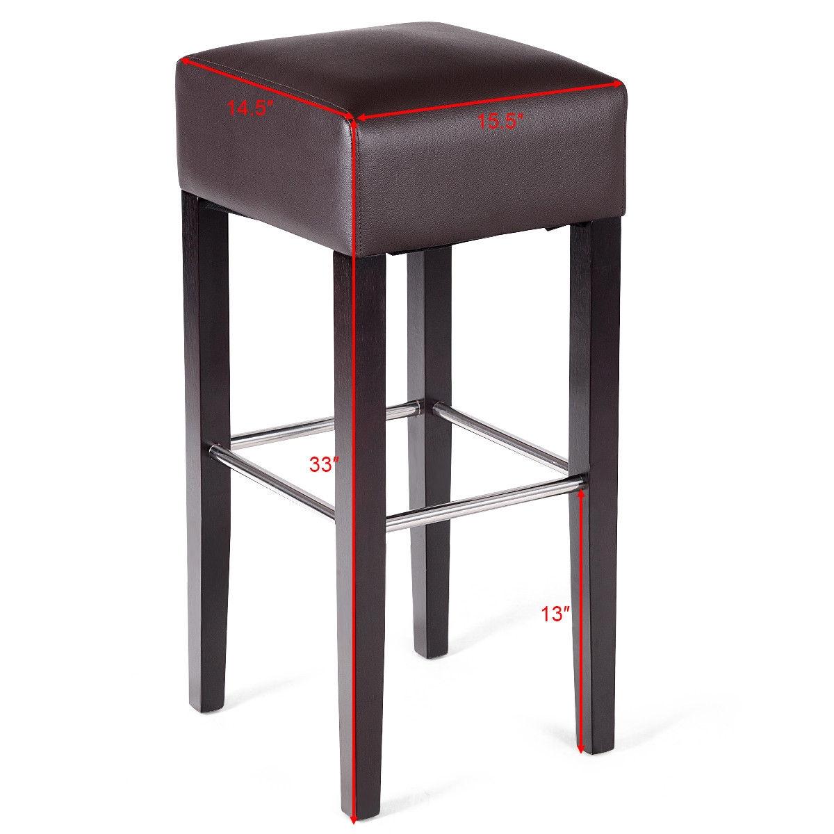 1 PC Backless Bar Stool PVC Seat Rubber Wood Legs Pub Kitchen Dining Black-Brown
