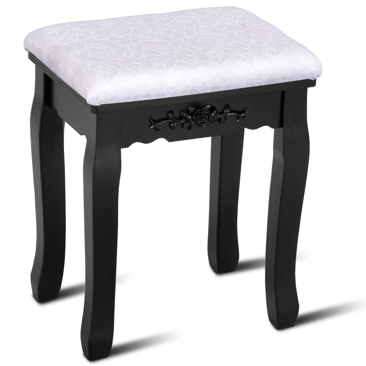 White Compact Vanity Makeup Dressing Table Stool Set