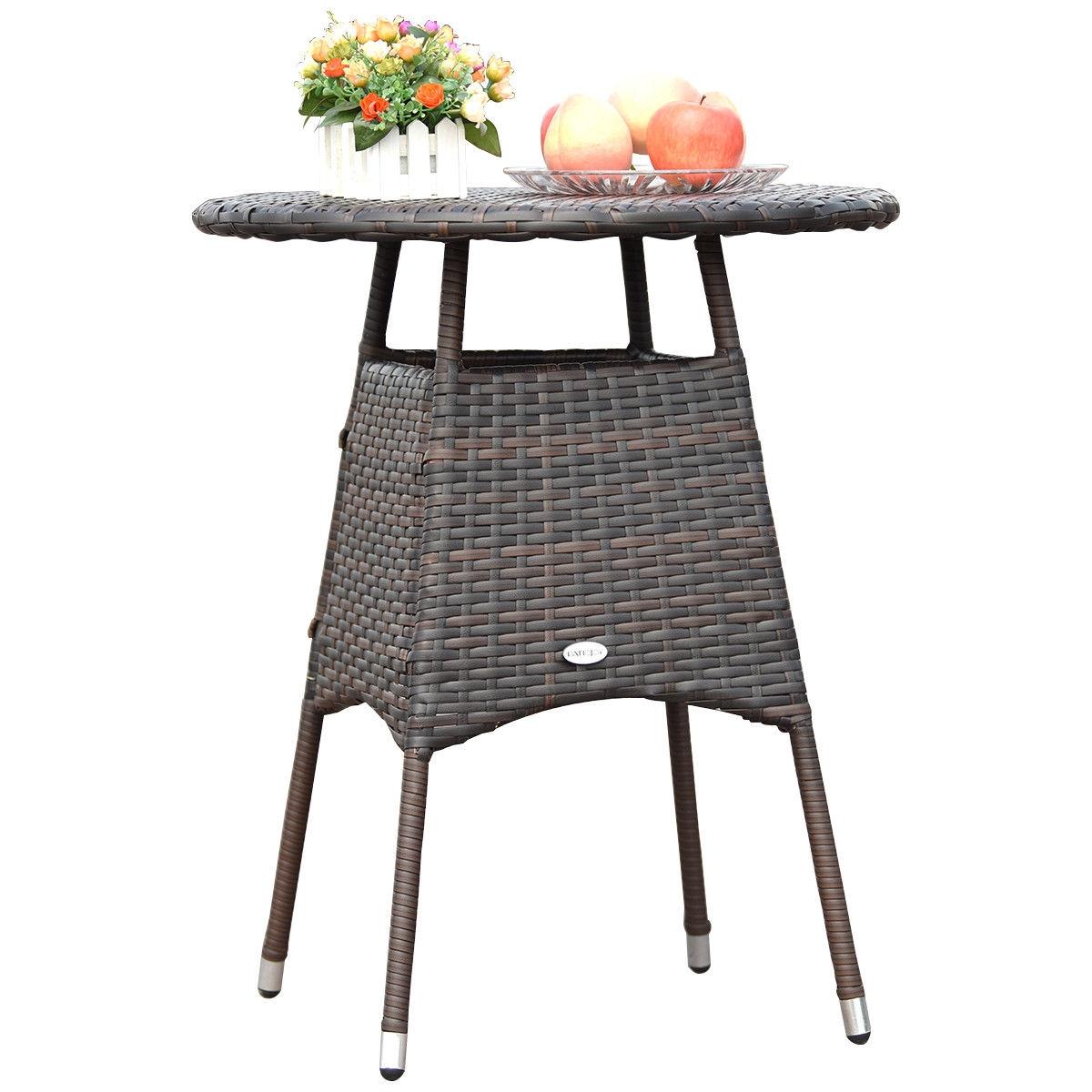 3 pcs Outdoor Bistro Rattan Wicker Cushioned Seat Furniture Set