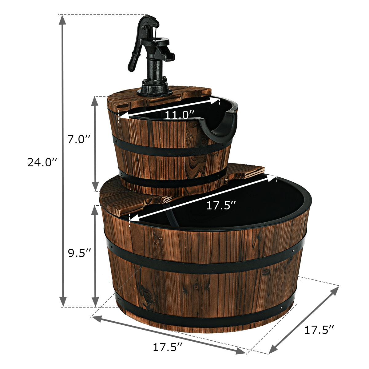 2 Tiers Outdoor Wooden Barrel Waterfall Fountain with Pump