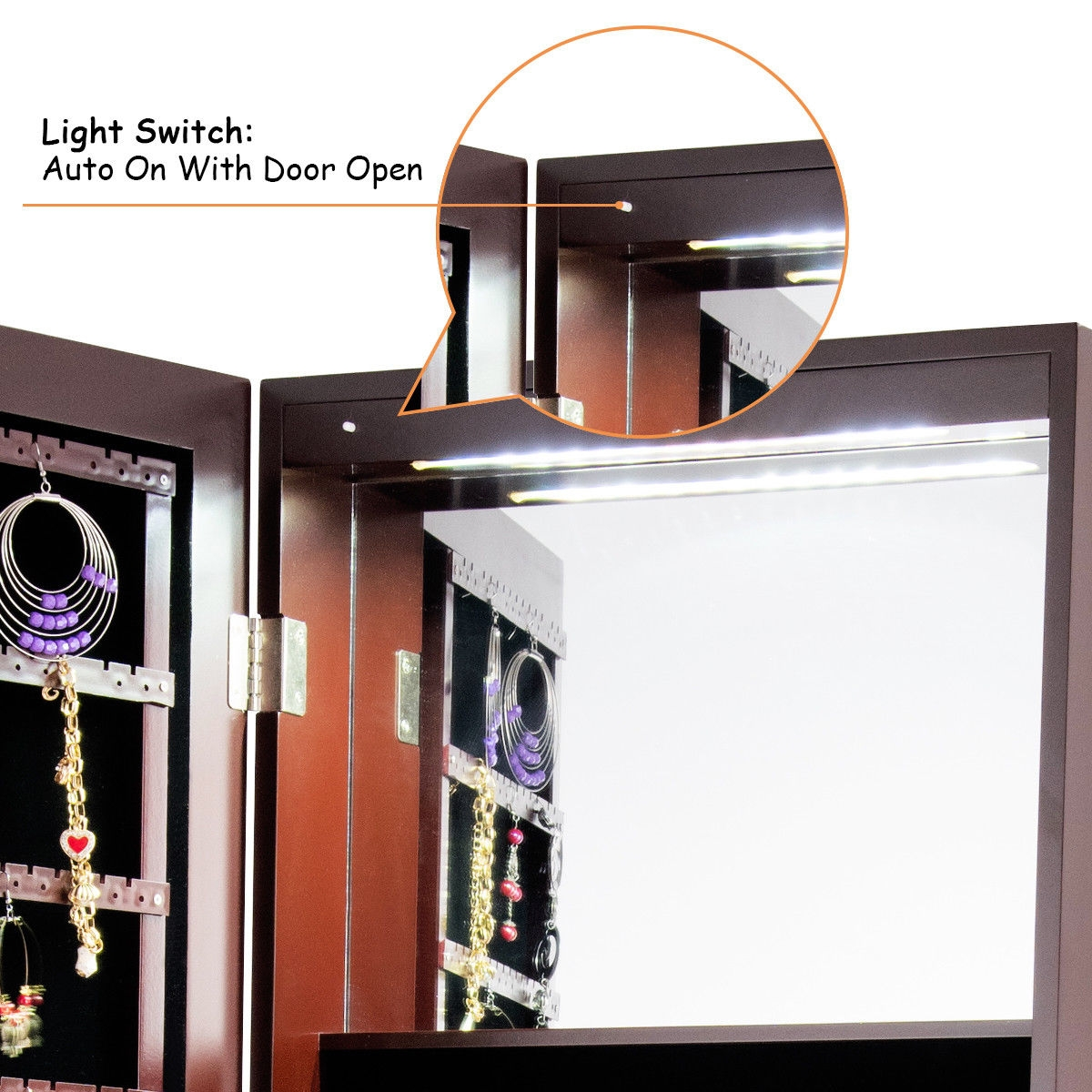 Standing Armoire Storage Mirrored Jewelry Cabinet w/ LED Lights -Brown