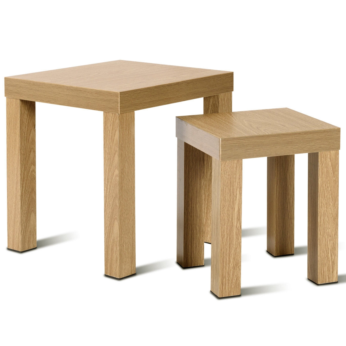 Set of 2 Nesting Living Room Decor Wooden Coffee End Table