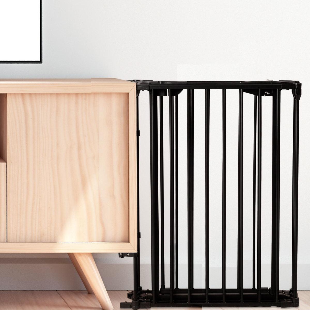 6 Panel Metal Gate Baby Pet Fence Safe Playpen Barrier-Black