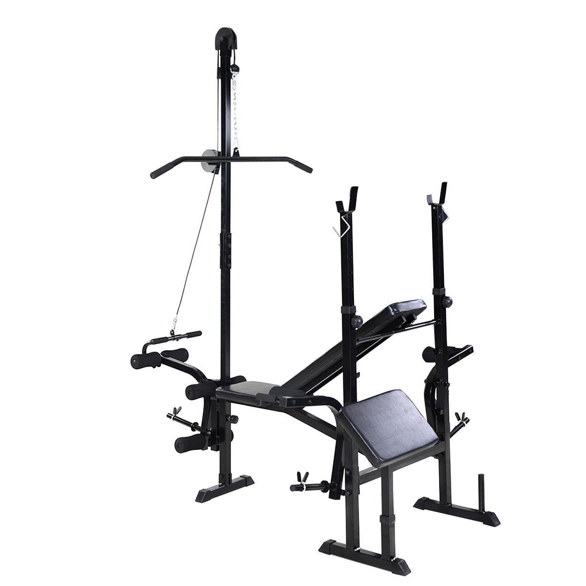 Adjustable Weight Lifting Flat Bench Rack Set Fitness Exerciser