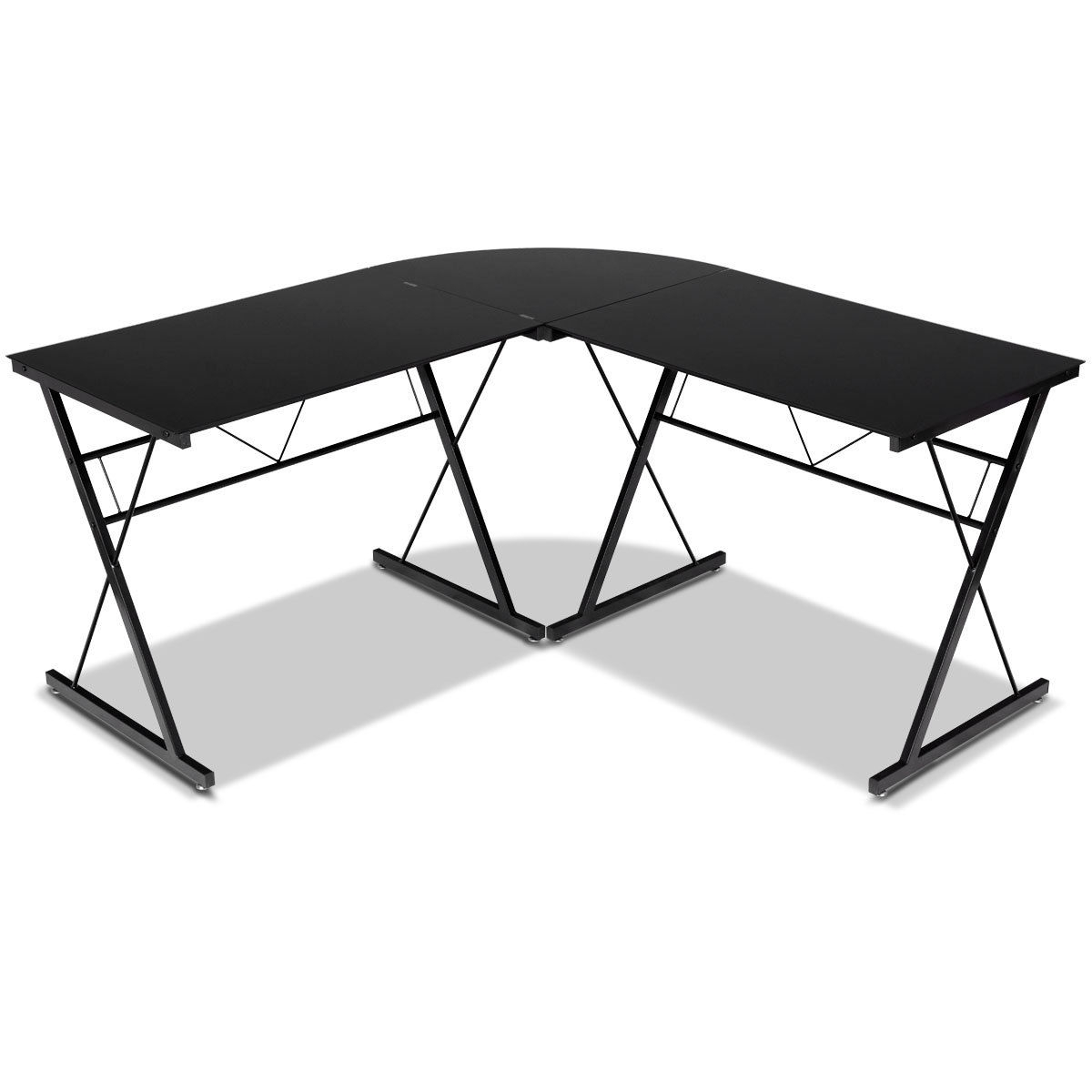 L-Shape Computer Desk Corner Laptop Table with Tempered Glass