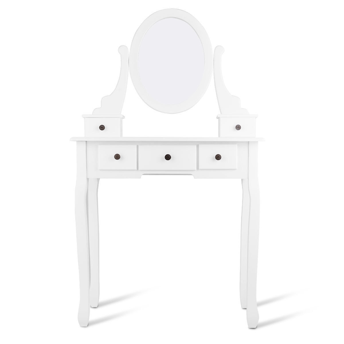 Dressing Table Set with Oval Mirror, Stool and 5 Storage Drawers