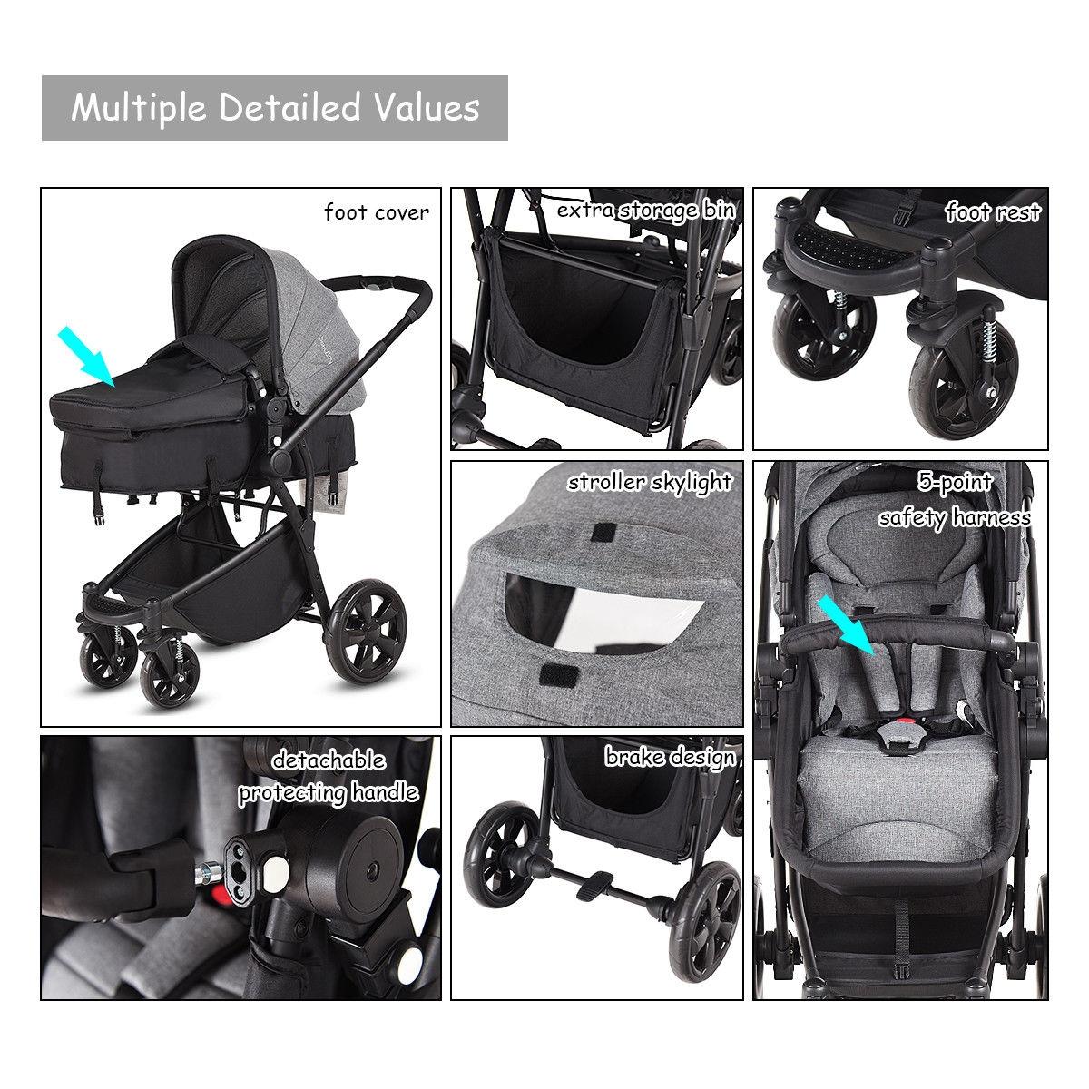 2 in 1 Folding Aluminum Buggy Newborn Travel Baby Stroller