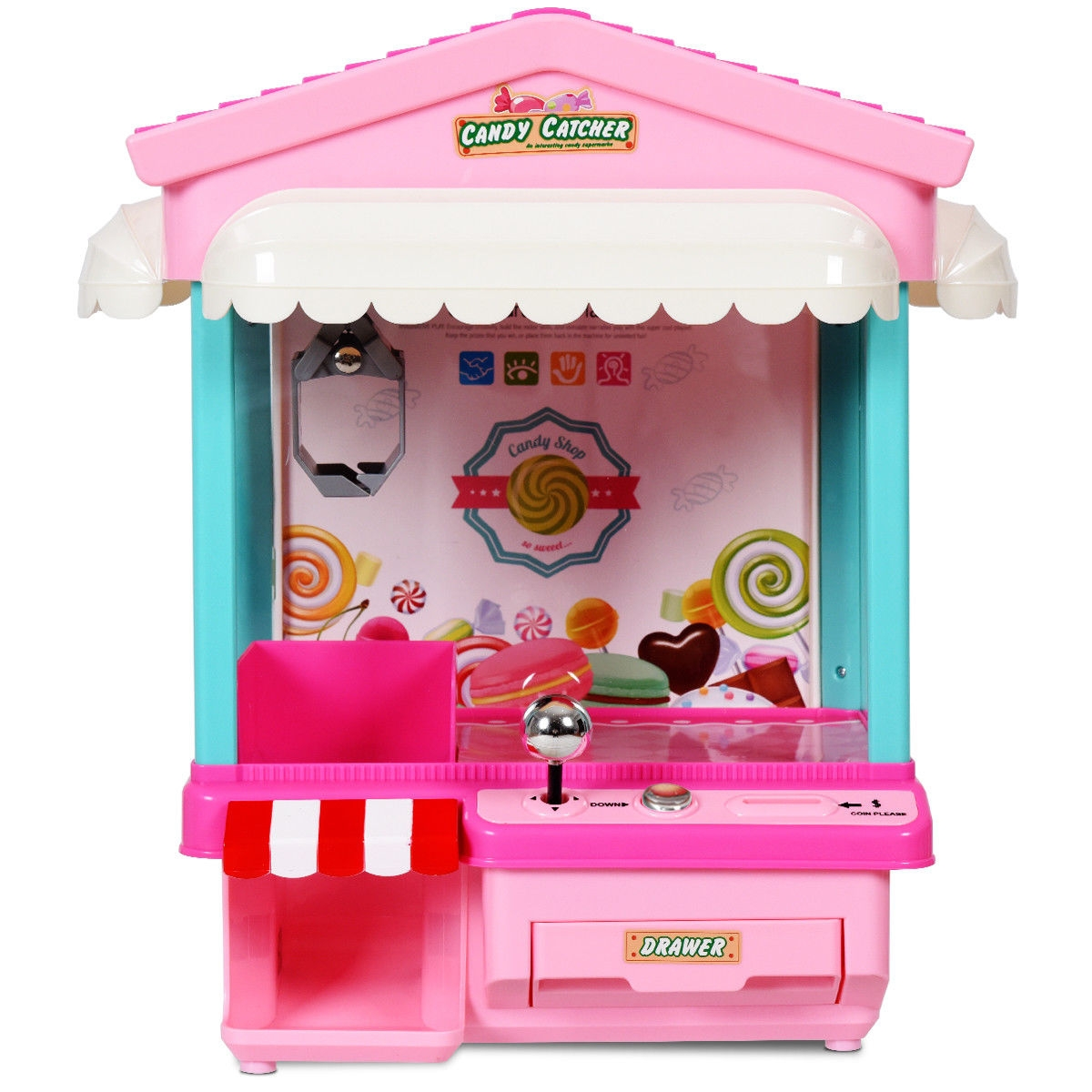 Kids Electronic Claw Toy Grabber Machine with Lights & Music & Coins-Pink