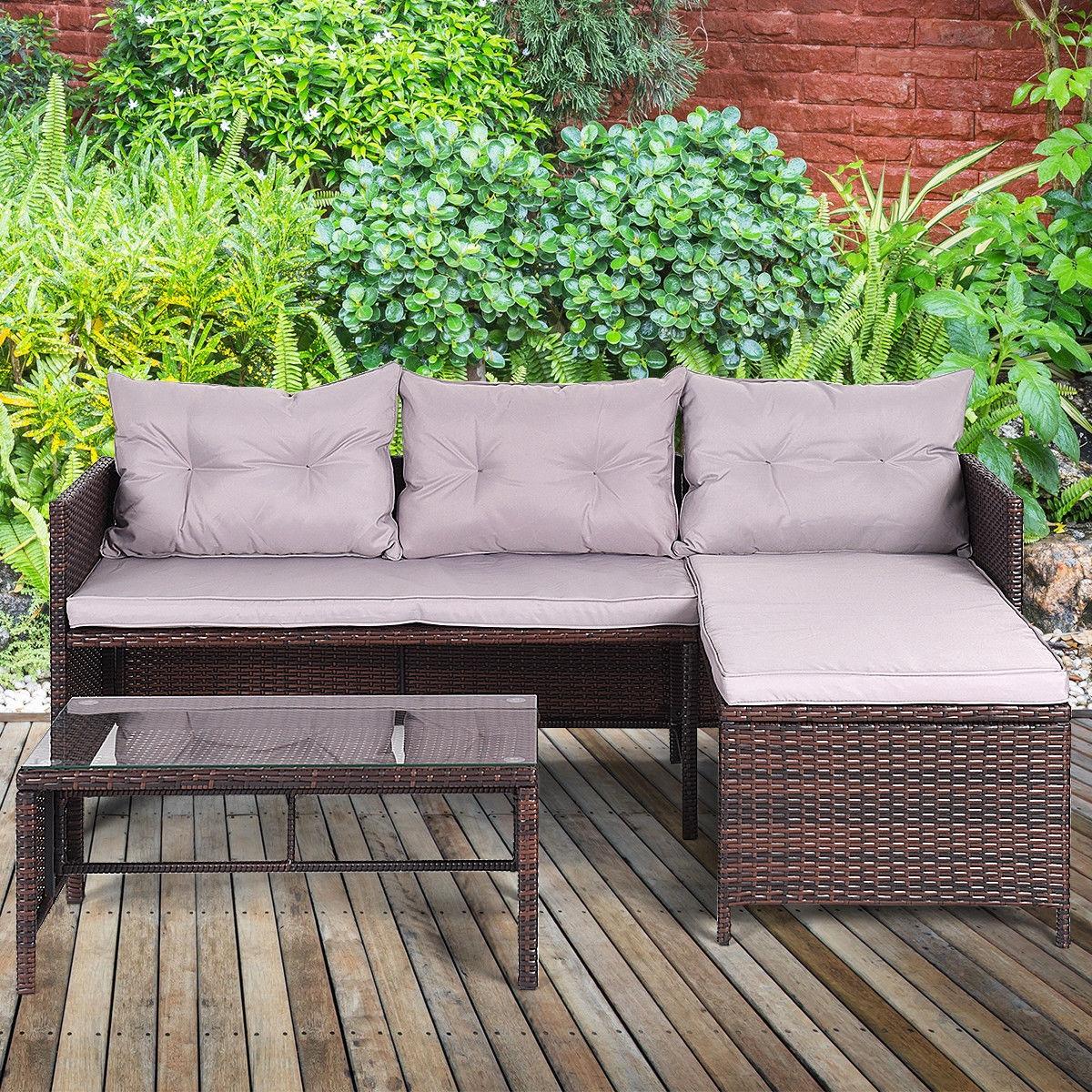 3 pcs Rattan Wicker Deck Couch Outdoor Patio Sofa Set
