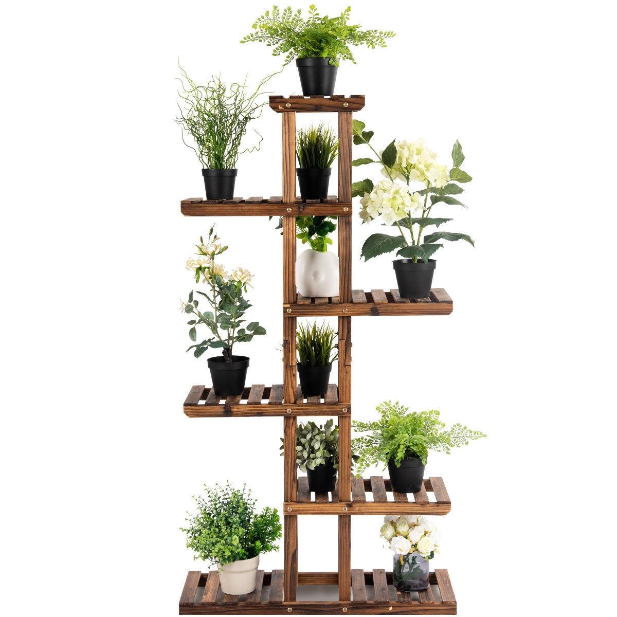 6 Tier Garden Wooden Shelf Storage Plant Rack Stand