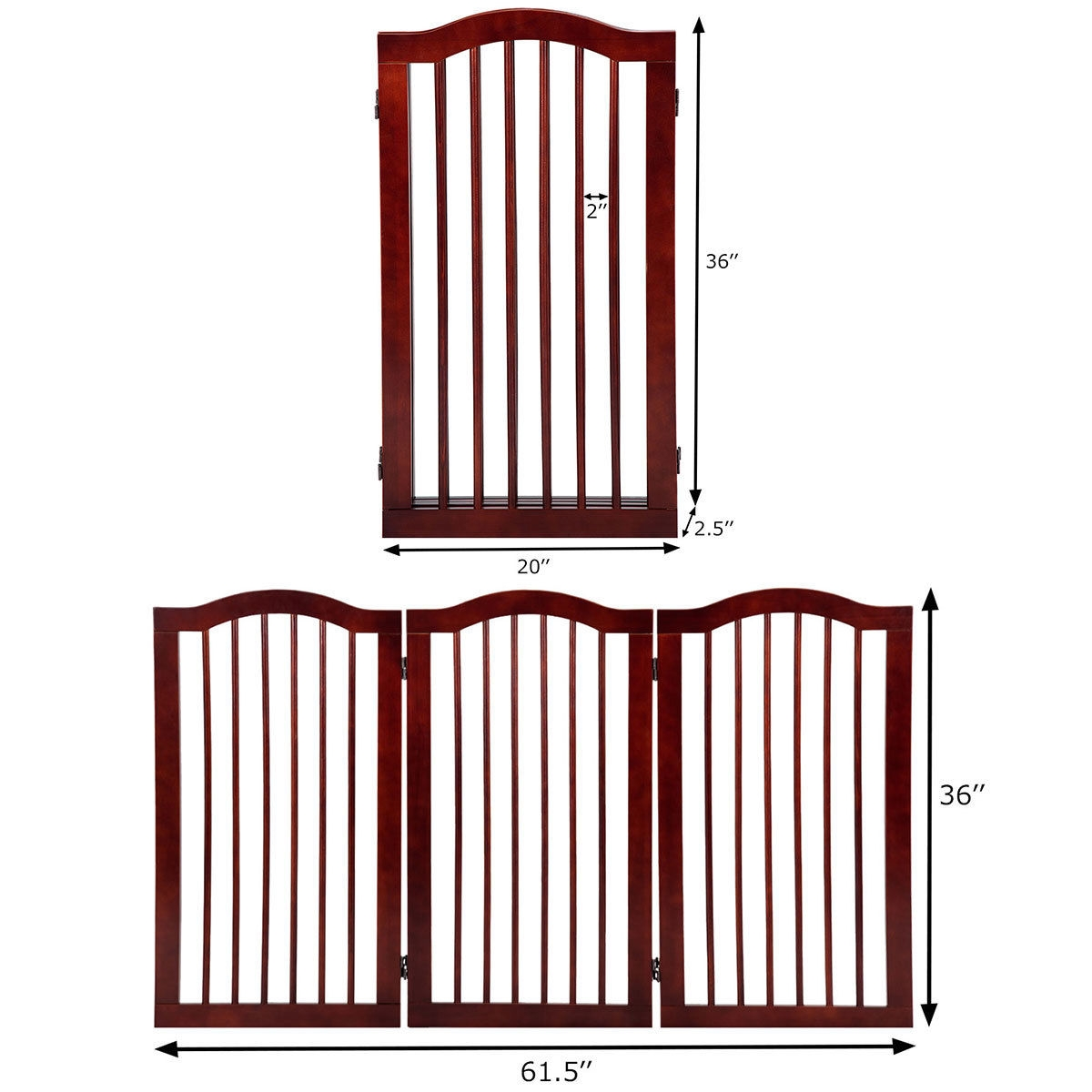 3 Panels Folding Freestanding Wood Pet Dog Safety Gate-36