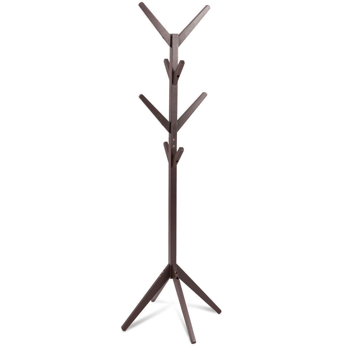 Wood Coat Rack Clothes Holder  Hall Stand