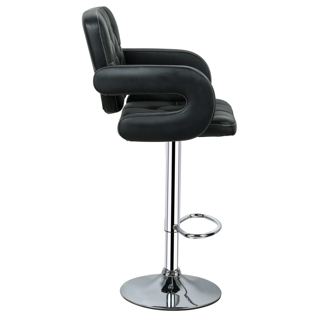 2-Set PU Leather Swivel Bar Stools Adjustable Pub Chair-Black