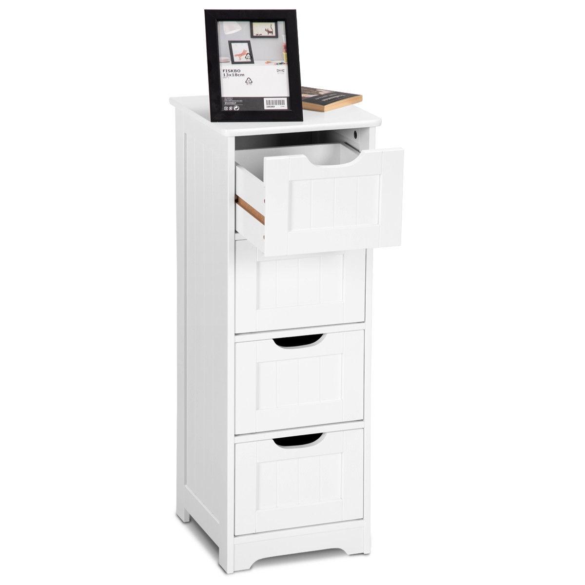 Bathroom Wooden Free Standing Storage Side Floor Cabinet Organizer-3