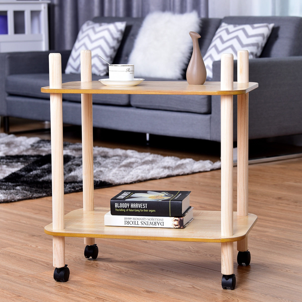 2 Tier Rolling Utility Storage Rack Serving Cart