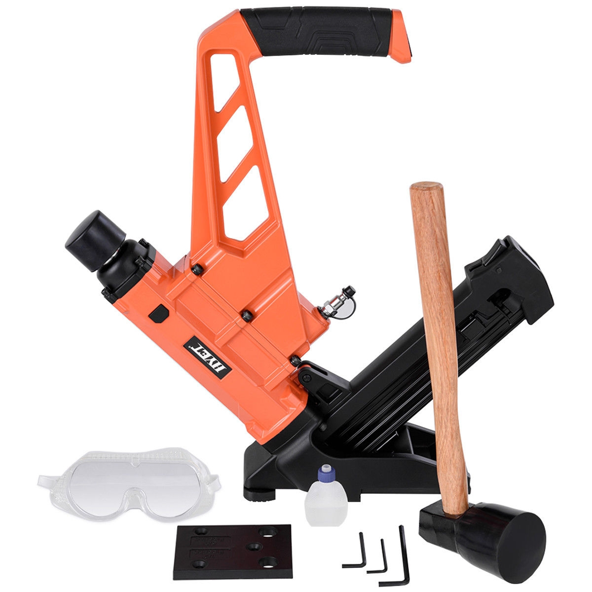 2-in-1 Dual Handle Flooring Nailer and Stapler with Hammer