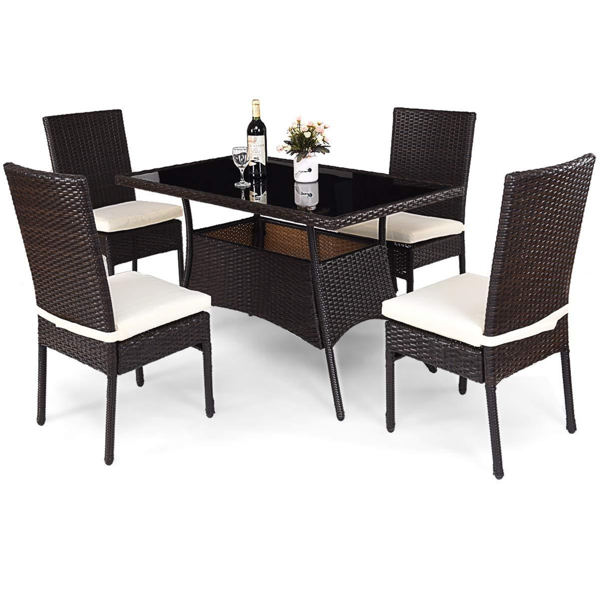 5 Piece Outdoor Patio Rattan Dining Furniture  Set