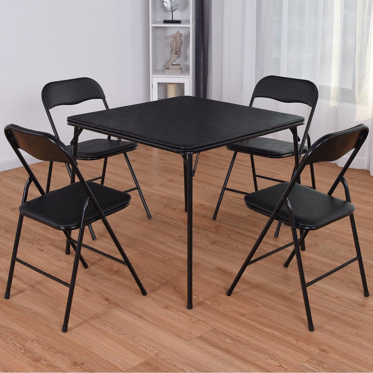 5 Piece Multi-Purpose Folding Dining KitchenTable Chair Set