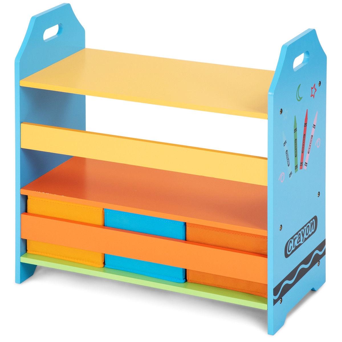 2 Tiers Crayon Themed Bookshelf With 3 Storage Bins