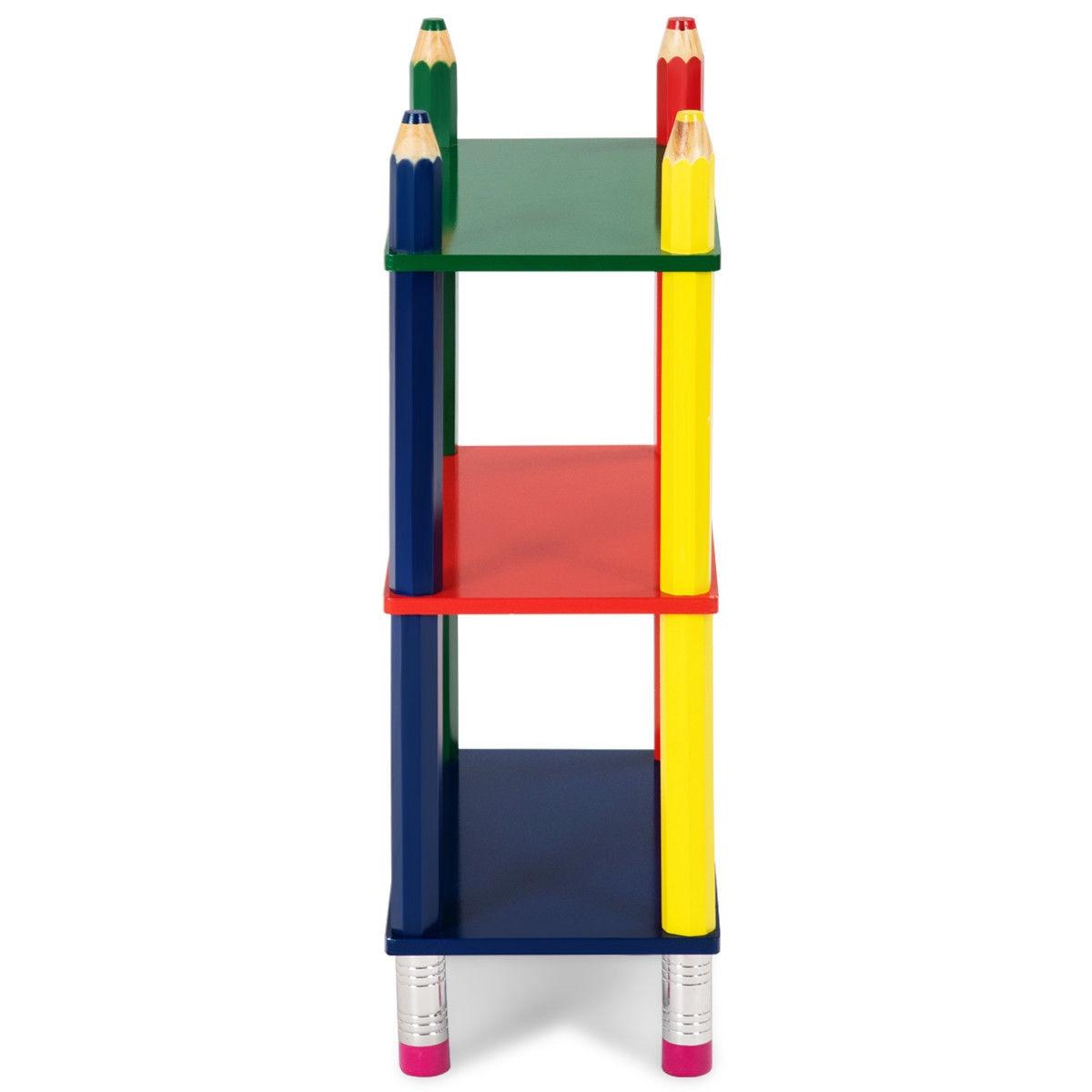 3 Tiers Kids Bookshelf Crayon Themed Shelves Storage Bookcase