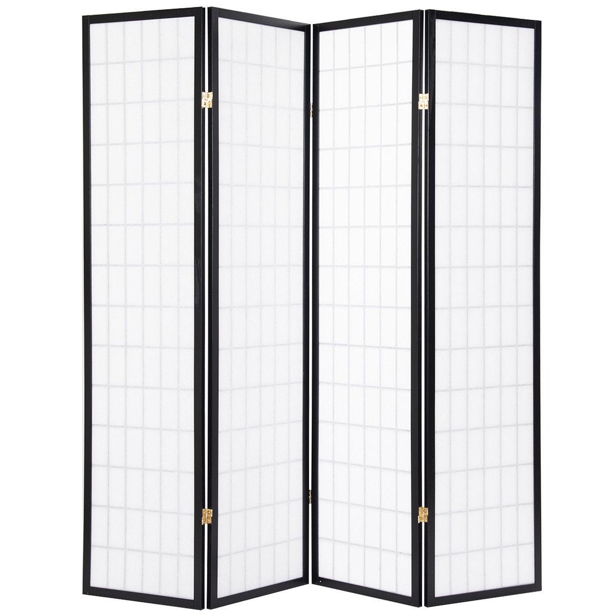 4 Panels Folding Pine Wood Room Divider Shoji Screen