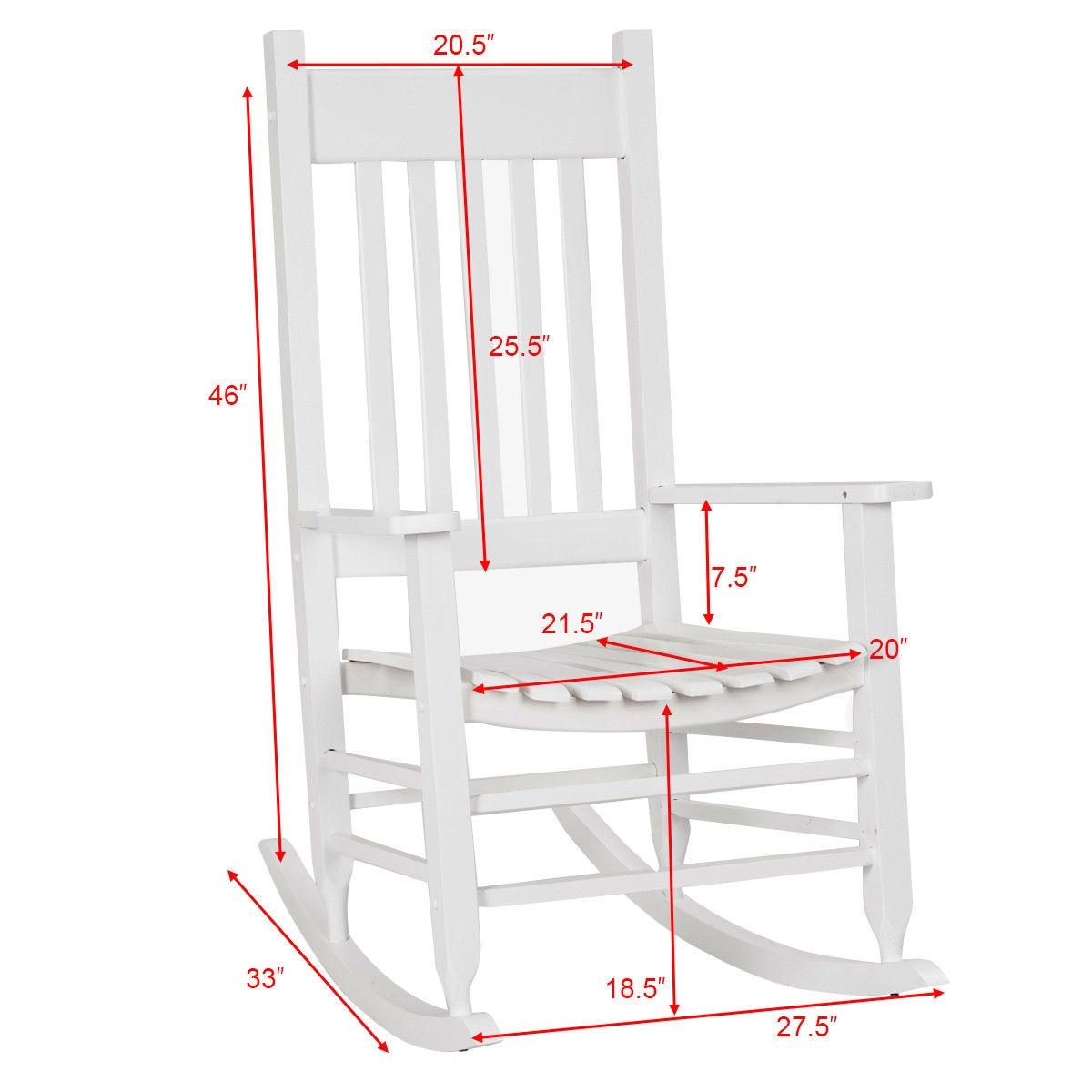Porch Rocker Deck Patio Backyard Solid Wood Rocking Chair