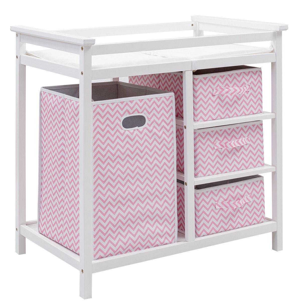 Infant Changing Table with 3 Basket Hamper Diaper Storage-Pink