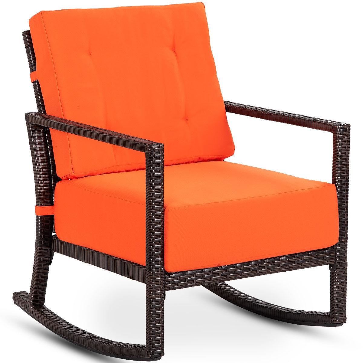Patio Rattan Rocking Chair Rocker Armchair with Cushions