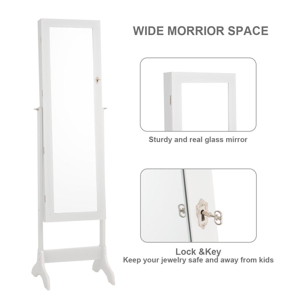 Lockable Mirrored Jewelry Cabinet Armoire Storage Organizer Box