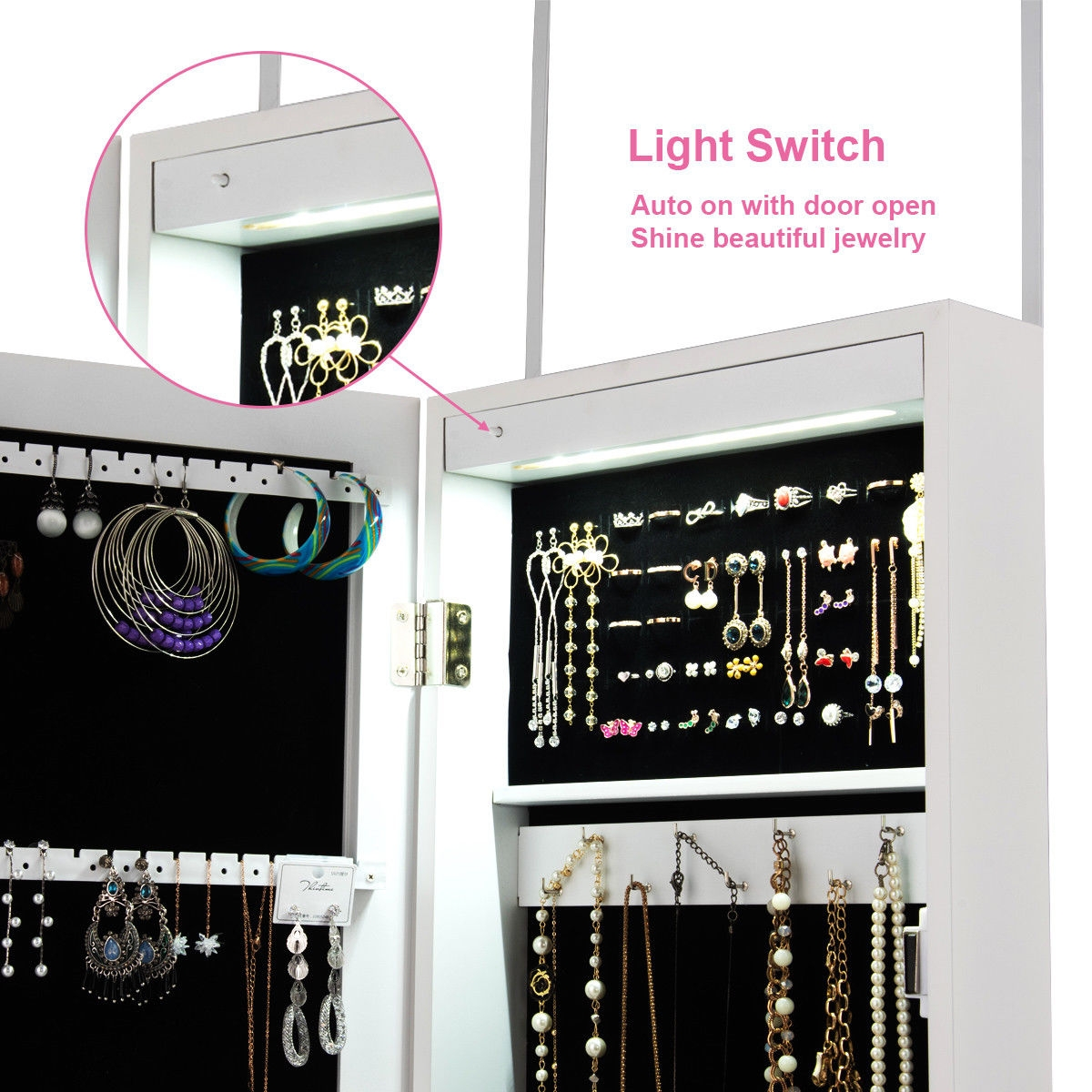 Wall And Door Mirrored Jewelry Cabinet With LED Light