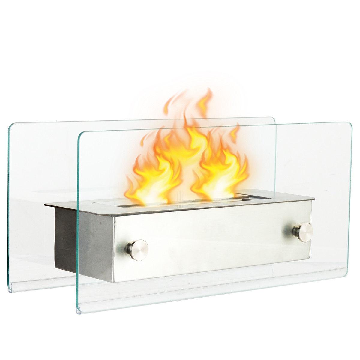 Outdoor Indoor Tabletop Portable Stainless Steel Ventless Fireplace