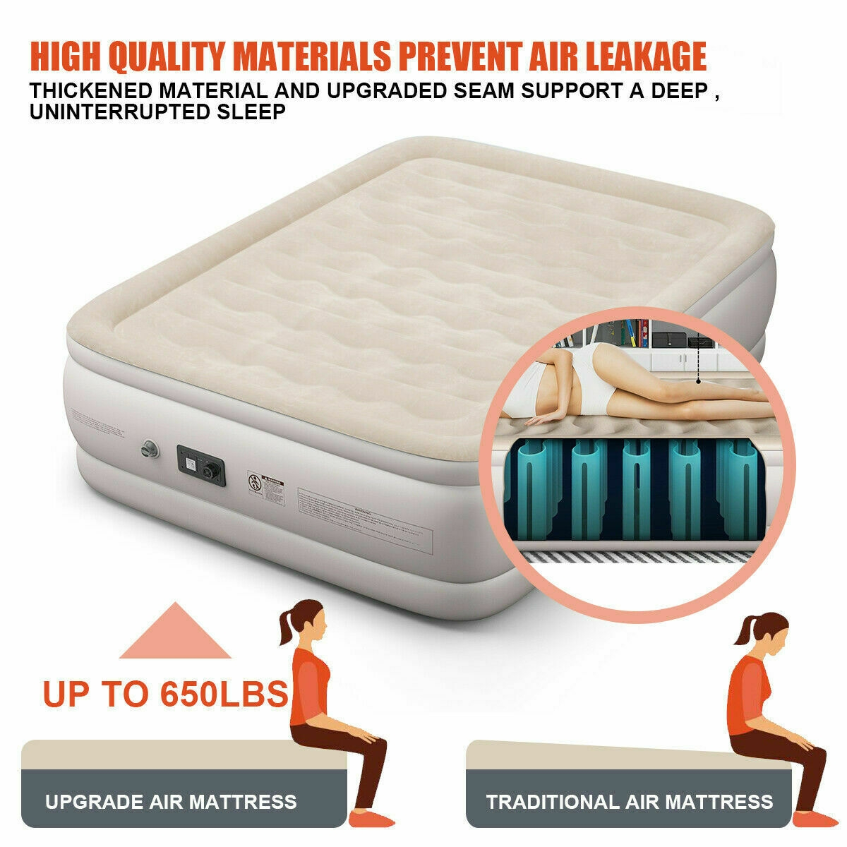 Luxury Quilt Top Raised Airbed with Built-in Pump