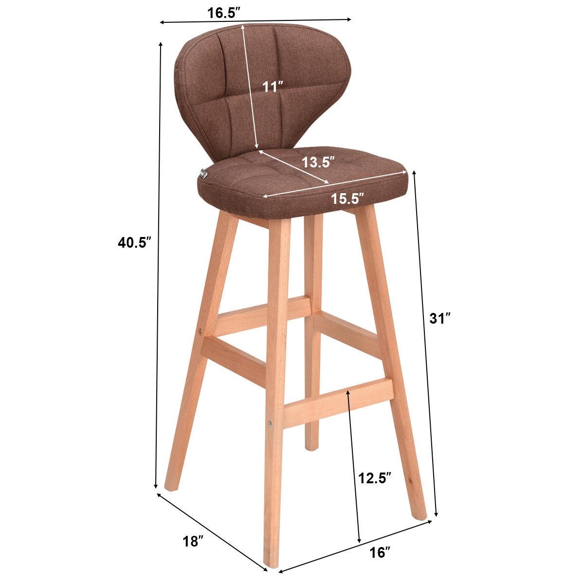 Set of 2 Brown Bar Stools Pub Chair Fabric