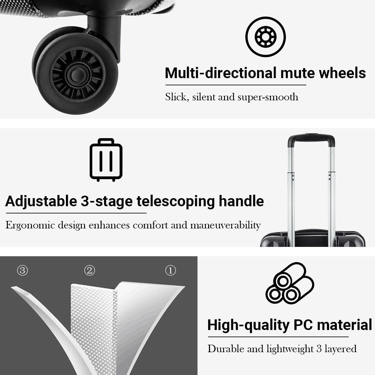 Front Pocket Luggage Business Trolley Suitcase withTSA Locks-Black