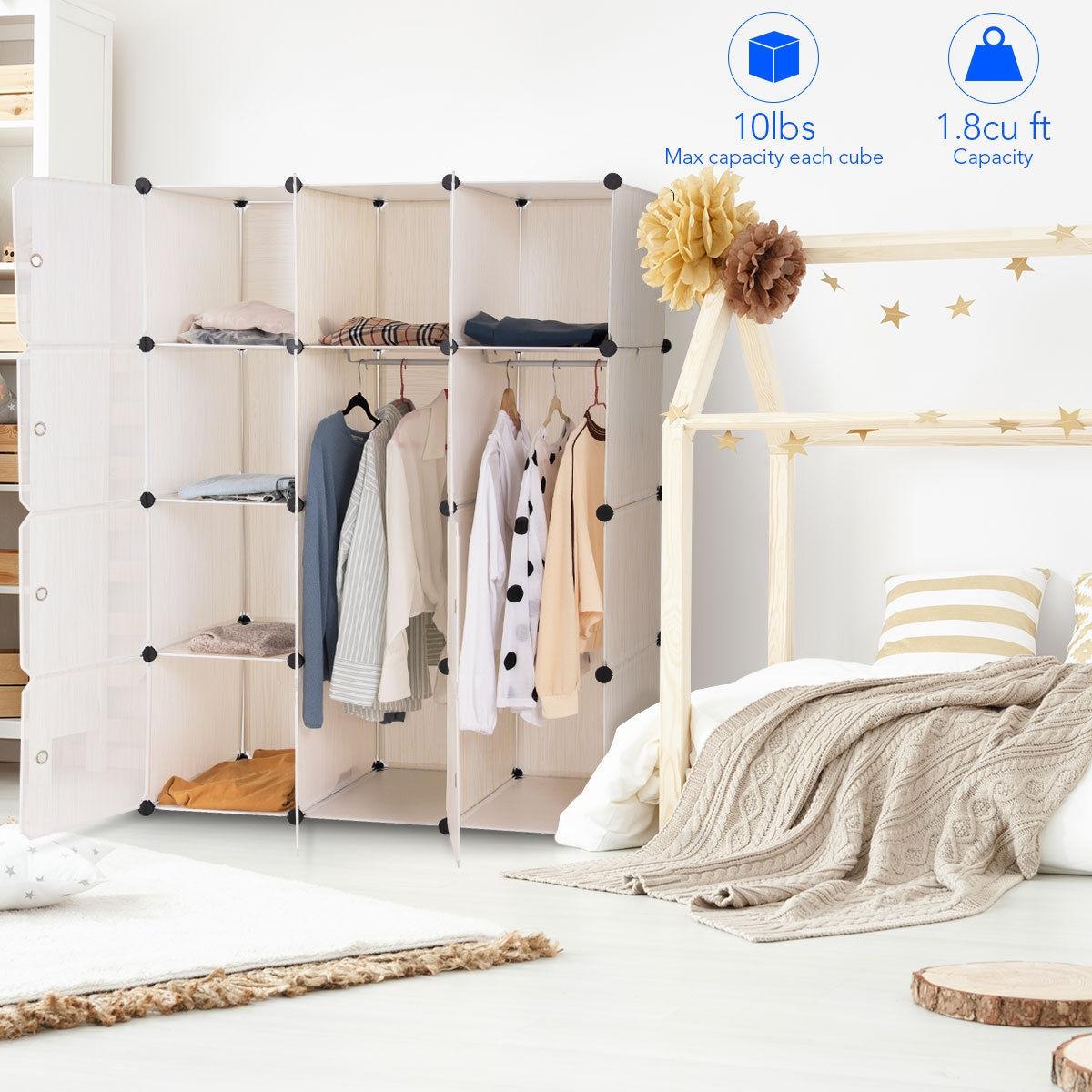 DIY Cube Portable Closet Wardrobe Storage Cabinet with Doors