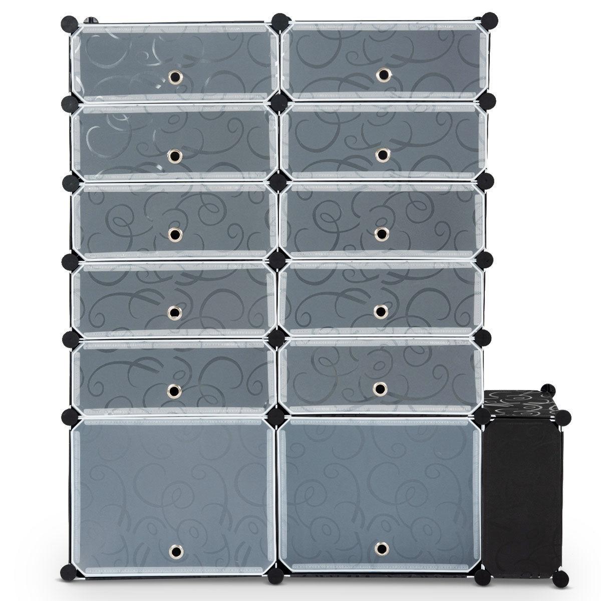 DIY 13 Cube 24 Pair Space Saving Portable Shoe Storage Cabinet