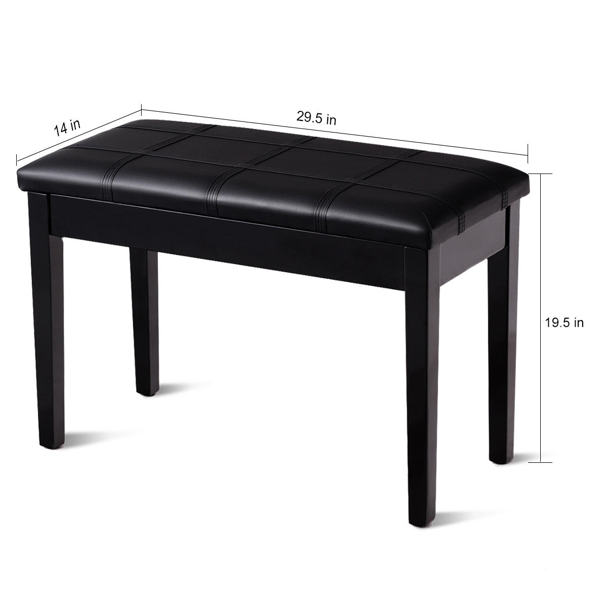 Solid Wood PU Leather Piano Double Duet Keyboard Bench