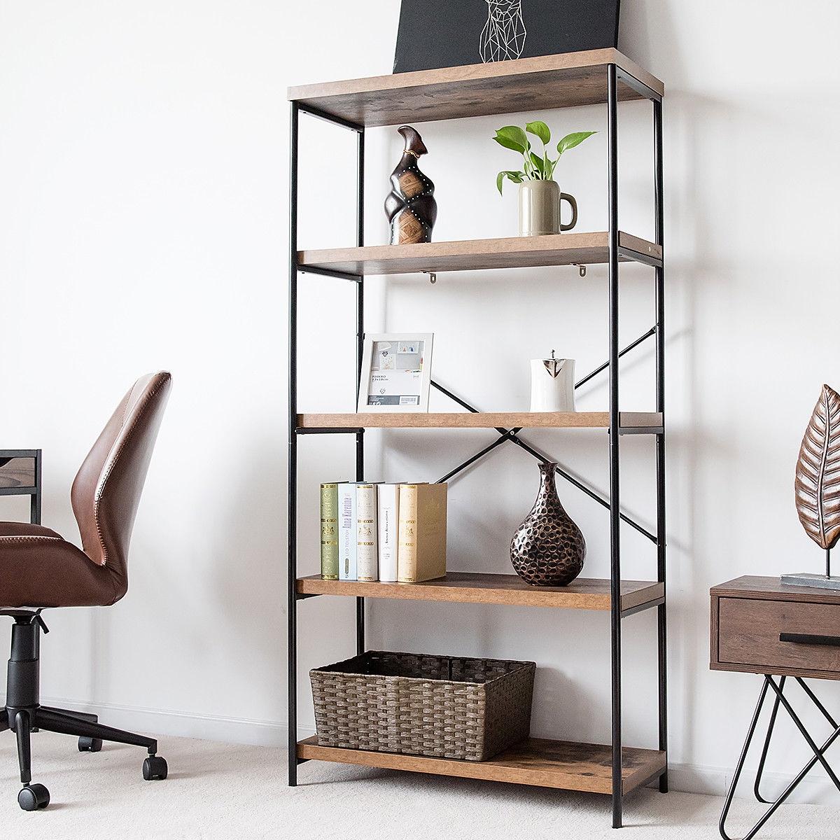 Multipurpose Open Bookcase Industrial Rack Storage Shelf