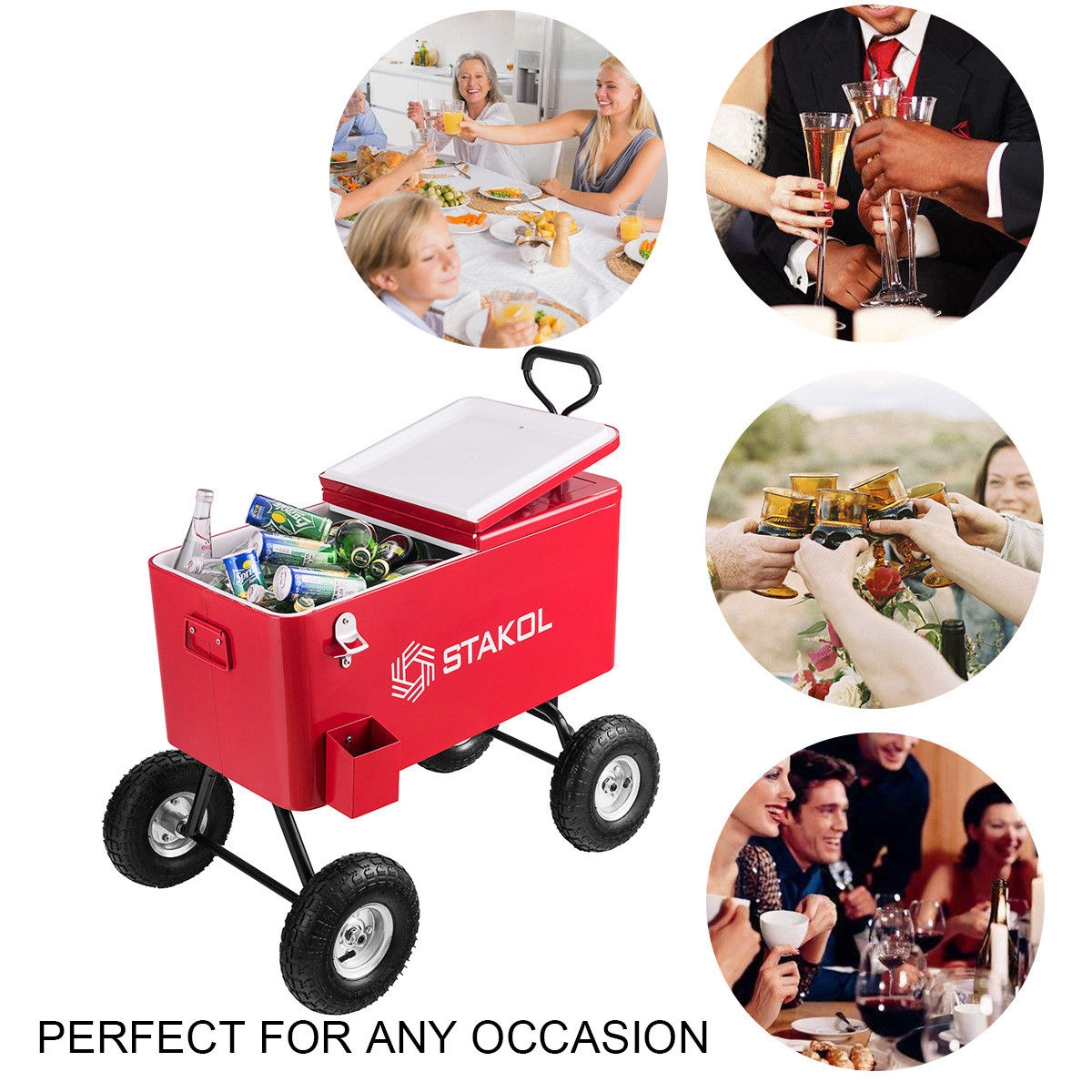 Outdoor 80 QT Portable Rolling Party Wagon Cooler Cart