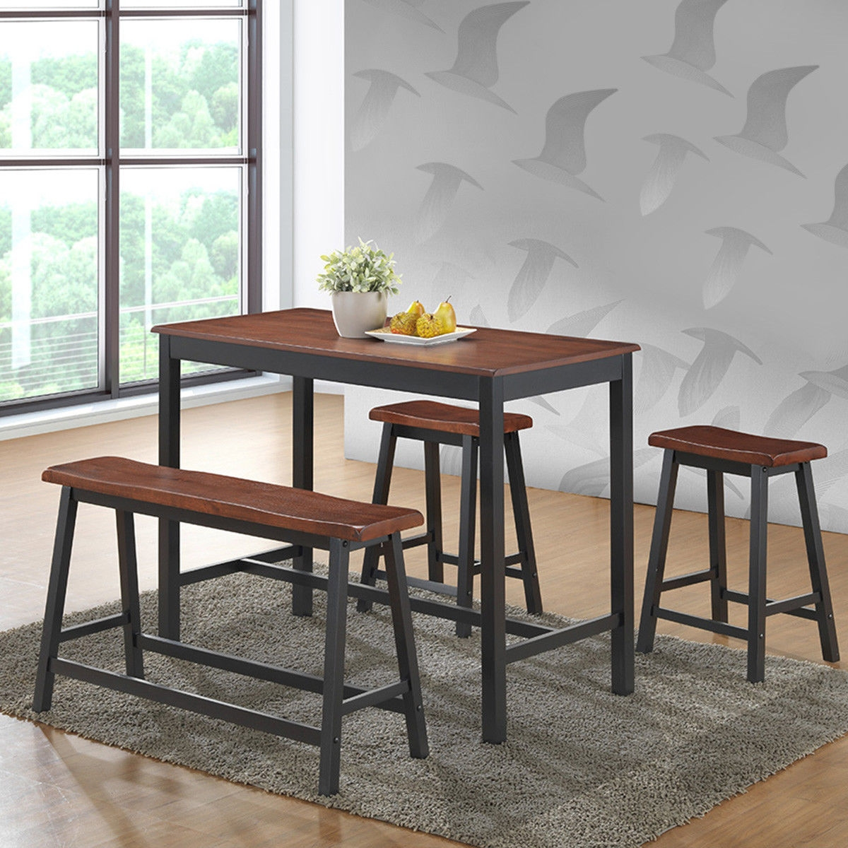 4 pcs Solid Wood Counter Height Dining Table Set