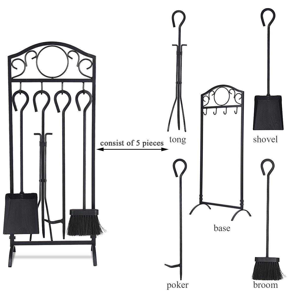 5 Pieces Decor Holder Fireplace Tools Set