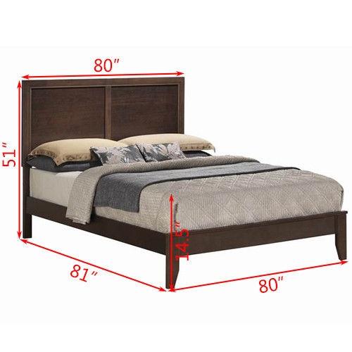 Home Bed Frame with Platform Wood Slats Tall Headboard