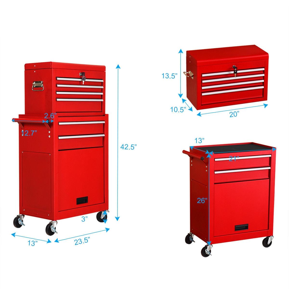 Rolling Cabinet Storage Chest Box Garage Toolbox Organizer