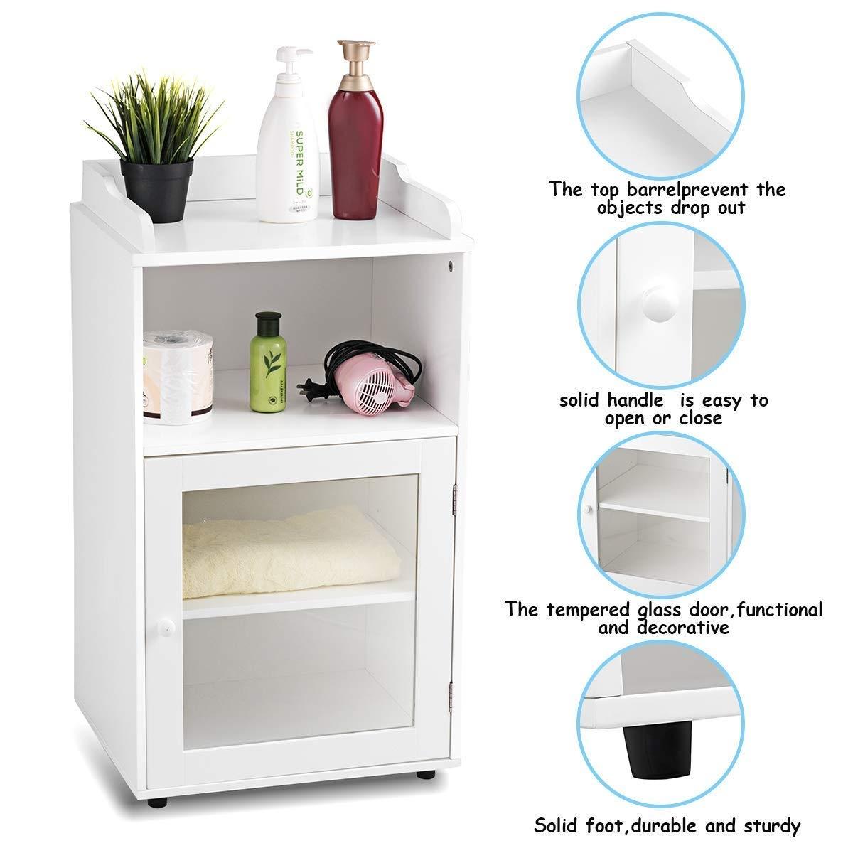 Bathroom Adjustable Floor Storage Cabinet Shelf with Door